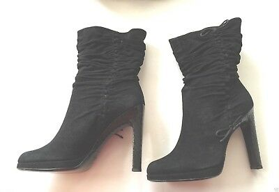 b6206baa3 GUCCI Black Suede ankle Mid Calf Ruched Snake Skin Heel Boots Sz 8B new