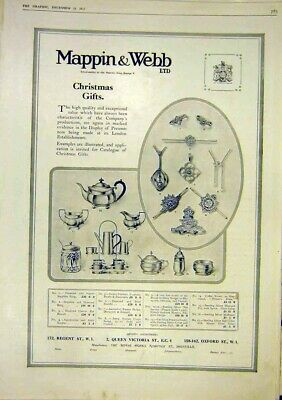 Original Old Vintage Print Mappin Webb Advert Christmas Gifts 1917 20th Century