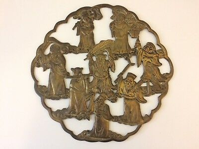 Vintage Brass Carved Chinese Immortals Wall Plaque