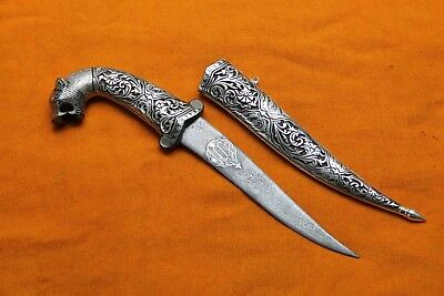 Indo-Persian Silver Inlay Engraved Lion Face Handle Dagger Kareem Ramadan Eid