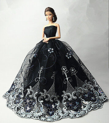 Black Fashion Party Princess Dress Wedding Clothes/Gown For 11.5 inch Doll #21