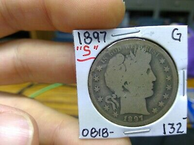 1897-S Barber Half Dollar 50C in Good Very Good Key Date US 90% Silver 1897S