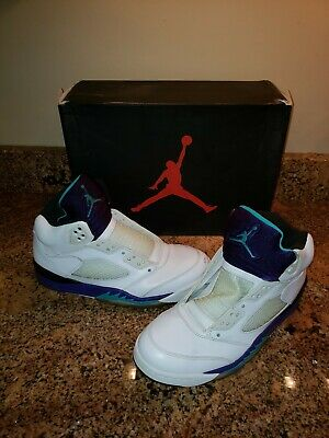 official photos d16fb dcdd7 2013 NIKE AIR JORDAN 5 RETRO WHITE NEW EMERALD GRAPE ICE BLACK size 9.5  supreme