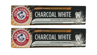2 x Arm & Hammer Charcoal White Peppermint Toothpaste 75ml Arm And Hammer