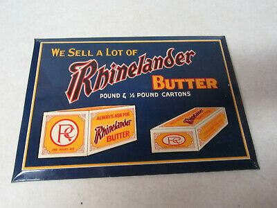 """Sciota Sign Co.,  """"Rhinelander Butter"""" Original early REAL DEAL Tin Butter Sign"""