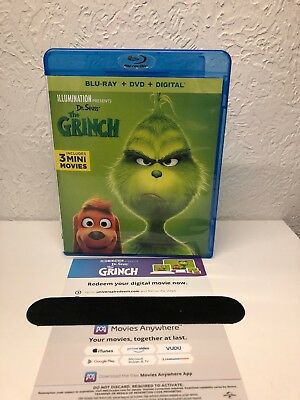 The Grinch Blu Ray + Digital HD( NO DVD INCLUDED PLEASE READ) Ships Fast!