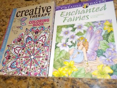 Creative Therapy and Enchanted Fairies adult coloring books new!