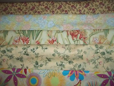 FLOWERS on YELLOW  floral Spring BTY Cotton quilt FABRIC U-Pick READ for INFO