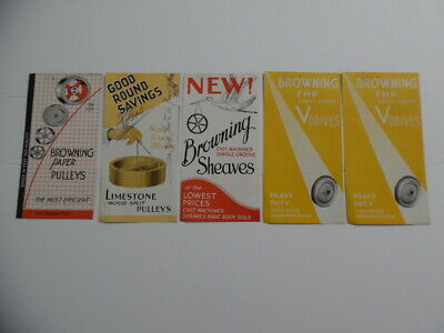 c,1930s Browning Mfg Co. Wooden Paper Pulley Sheaves Brochure Lot Vintage Orig.