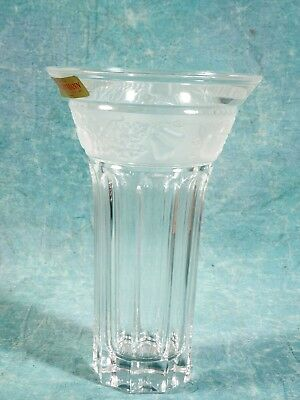 Vintage GERMAN Crystal Vase EDEN Orchard  Fruits Discontinued  NEW in BOX