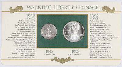 1942 Walking Liberty Half Dollar & 1992 Silver American Eagle w/ Info Card