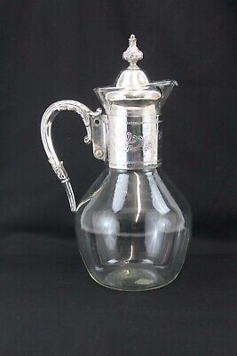 "Exceptional Antique Silver Plate and Glass Coffee/Tea Pitcher 11.5"" H"