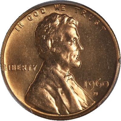 1960-D Lincoln Cent PCGS MS66RD Large Date Fiery Red Gem Nice Strike STOCK