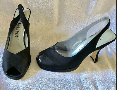 46cd8f620628 Womens Shoe Size 8 Black Heels Pumps SAM LIBBY Peep Open Toe Slingback  Formal