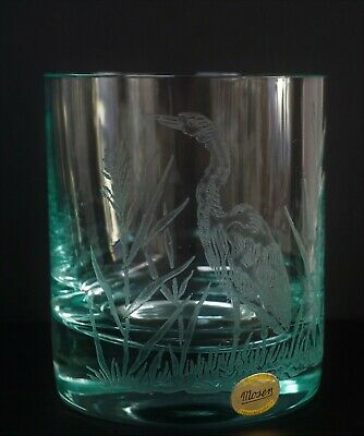 """Moser Crystal Beryl Heron or Egret 4"""" Tall Tumbler Double Old Fashioned Glass"""