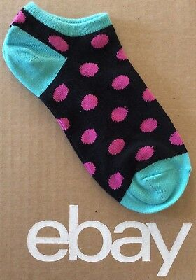 "Women's ""Dark Gray Polka Dot And Stripes"" Ankle Low Cut Socks Size 9-11"