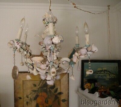 Vintage Chandelier Coastal Sea Shell Art ~ 6 Lights ~ BEACH Cottage CHIC