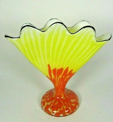 Czech FRANZ WELZ Scallop Fan Glass Vase Yellow Orange Spatter Art Deco Loetz era
