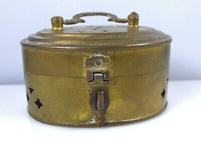 Vintage Small Brass Cricket Trinket Box With Latch Handle Made In India Rustic