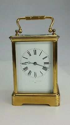 Large Antique Brass Carriage Clock Timepiece