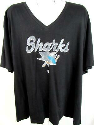 San Jose Sharks Womens Plus Size 2X-Large Screened Glitter T-shirt ASJS 36