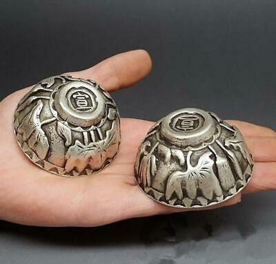Collection 2 pcs old China tibet Silver  Fengshui  statue bowl