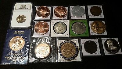 Token Medal Junk Drawer Lot Collection Coin Sacagawea $1 Ngc Ms66 Moynihan Penn