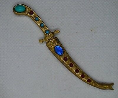 Damascene dagger Decorated with stones  Of copper, hand-engraved, old and rare