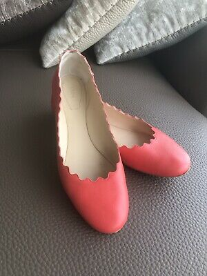b6e7911bf8f4 AUTH CHLOE LAUREN Scalloped Ballet Flats Coral Red Size 38 -  99.99 ...