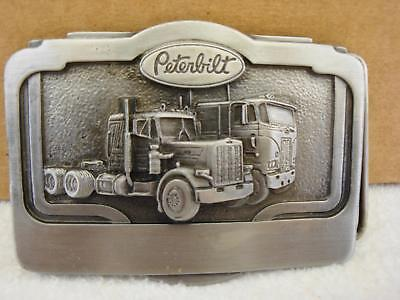 Vintage 1985 Tonkin Inc PETERBILT Trucker Truckie Pewter Belt Buckle NEW NOS