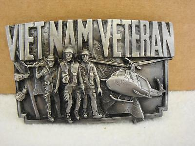 Vintage 1983 Bergamot Brass Works VIETNAM VETERAN Pewter Belt Buckle NEW NOS