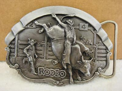 Vintage 1981 Bergamot Brass Works RODEO Bull Riding Pewter Belt Buckle NEW NOS
