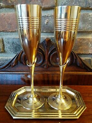 Champagne Flutes Pair of Two Elegant Art Deco Brass Calla Lily Barware Tray Box