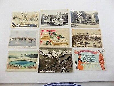 VINTAGE POSTCARD LOT OF NINE DIFFERENT POSTCARDS - SOME EARLY 1900's