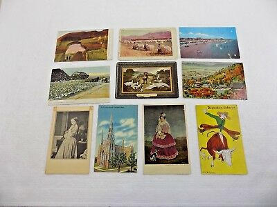 VINTAGE POSTCARD LOT OF TEN DIFFERENT POSTCARDS - SOME EARLY 1900's