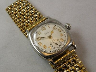 SERVICED 1928ish Elgin Men's ART DECO WATCH....NEW CRYSTAL & BAND