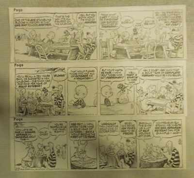 "(255) ""Pogo"" Dailies by Walt Kelly from 1970 Size: 3 x 7 inches"
