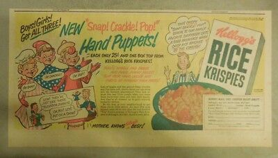 Kellogg's Cereal Ad: Snap, Crackle, Pop Hand Puppets Premium!  7.5  x 15 inches