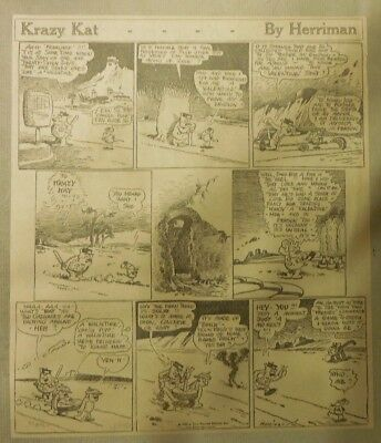 Krazy Kat Sunday by Geo. Herriman from 3/21/1926 Tabloid Size Page ~10 x 12 inch