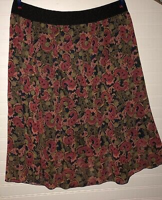 bb5dbeb8ee LULAROE LOLA LARGE NWT Red Floral Black & Green Vine Background ...