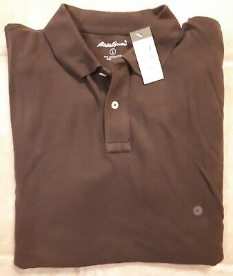 dcbe23c99 NWT Eddie Bauer Mens Size Large Brown Short Sleeve Polo Shirt Mens L Cotton