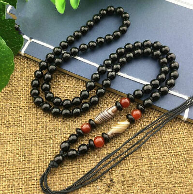 Style New Beaded Rope JADE DIY Beads agate Necklace Natural Black Obsidian