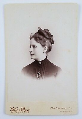 Cabinet Card Photograph Woman With Beautiful Hairstyle Hair Comb Brooch PA 1888