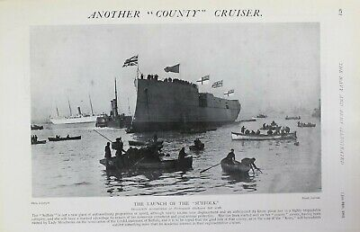 1903 Print Launch Of The Suffolk County Cruiser Portsmouth Dockyard