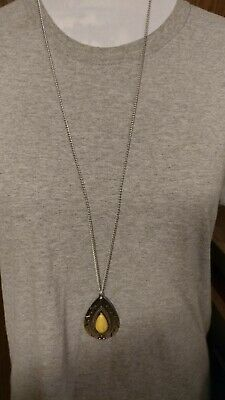 d403dc5ec Paparazzi Sedona Solstice Yellow Stone Ornate Silver Teardrop Frame Necklace .