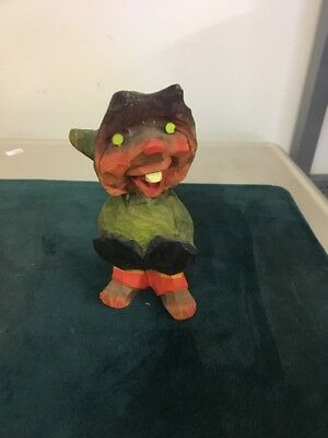 """Henning Carved Wood Troll / Gnome 5""""  Red Faced Happy Troll With Hands In Pocket"""