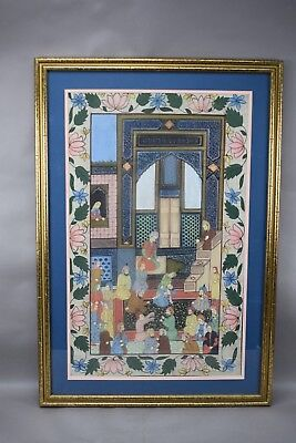 Islamic Persian Turkish Gouache Painting on Fabric Framed Royal Judge Court