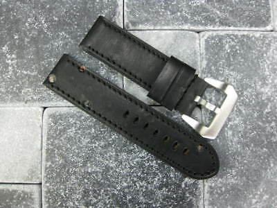 24mm NEW MOON COW LEATHER STRAP Black Watch Band PAM 1950 White Stitch 24 44