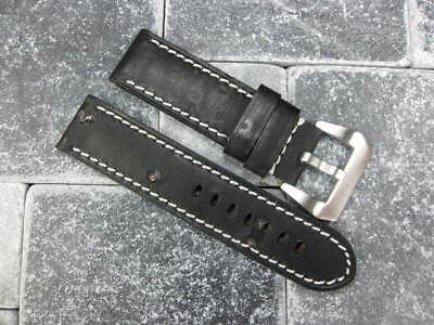 24mm NEW MOON COW LEATHER STRAP Black Watch Band 24 PAM black BKK