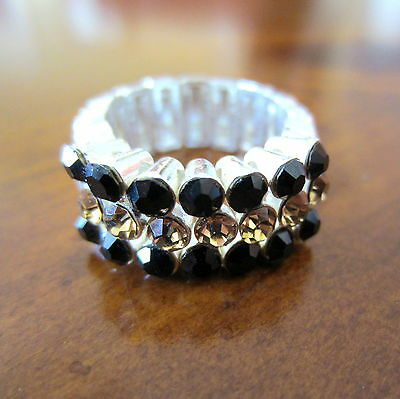 BLACK & GOLD CRYSTAL STRETCH RING New Orleans Saints colors football fan jewelry
